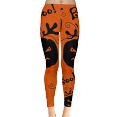 Halloween black pumpkins pattern Leggings