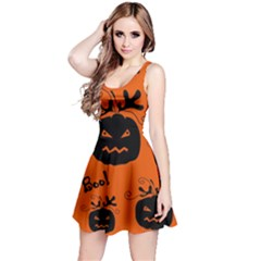 Halloween black pumpkins pattern Reversible Sleeveless Dress