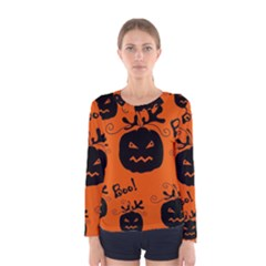 Halloween black pumpkins pattern Women s Long Sleeve Tee