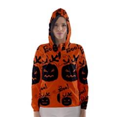 Halloween black pumpkins pattern Hooded Wind Breaker (Women)