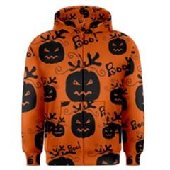 Halloween black pumpkins pattern Men s Zipper Hoodie