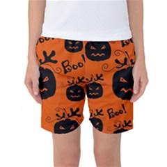 Halloween black pumpkins pattern Women s Basketball Shorts