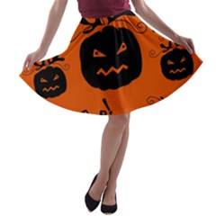 Halloween black pumpkins pattern A-line Skater Skirt