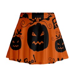 Halloween black pumpkins pattern Mini Flare Skirt