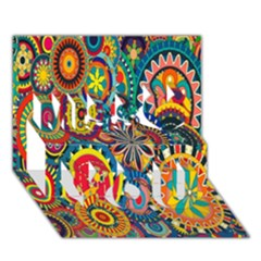 Tumblr Static Colorful Miss You 3d Greeting Card (7x5)