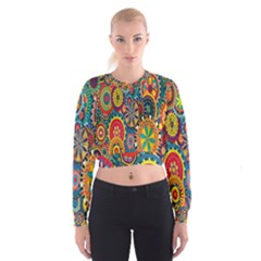Tumblr Static Colorful Women s Cropped Sweatshirt