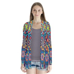 Tumblr Static Colorful Drape Collar Cardigan