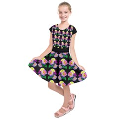 Roses on Black Kids  Short Sleeve Dress