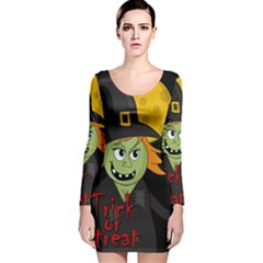 Halloween witch Long Sleeve Velvet Bodycon Dress