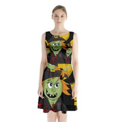 Halloween witch Sleeveless Chiffon Waist Tie Dress