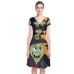 Halloween Witch Short Sleeve Front Wrap Dress