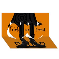 Halloween - witch boots Twin Hearts 3D Greeting Card (8x4)