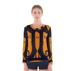 Halloween - witch boots Women s Long Sleeve Tee