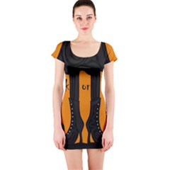Halloween - witch boots Short Sleeve Bodycon Dress