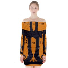 Halloween - witch boots Long Sleeve Off Shoulder Dress