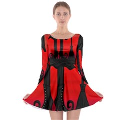 Halloween black witch Long Sleeve Skater Dress