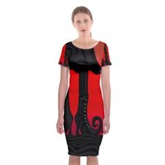 Halloween Black Witch Classic Short Sleeve Midi Dress