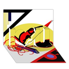 Abstract art I Love You 3D Greeting Card (7x5)