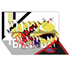 Abstract art Happy Birthday 3D Greeting Card (8x4)