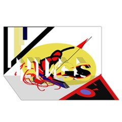 Abstract art HUGS 3D Greeting Card (8x4)