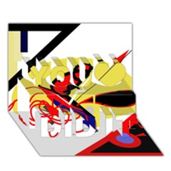 Abstract art You Did It 3D Greeting Card (7x5)