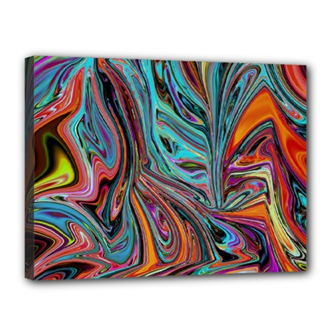 Brilliant Abstract In Blue, Orange, Purple, And Lime Green  Canvas 16  X 12