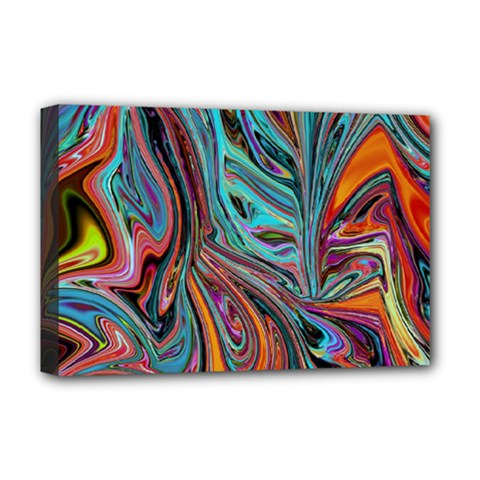 Brilliant Abstract in Blue, Orange, Purple, and Lime-Green  Deluxe Canvas 18  x 12