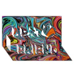 Brilliant Abstract in Blue, Orange, Purple, and Lime-Green  Best Friends 3D Greeting Card (8x4)