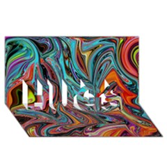 Brilliant Abstract in Blue, Orange, Purple, and Lime-Green  HUGS 3D Greeting Card (8x4)