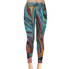 Brilliant Abstract in Blue, Orange, Purple, and Lime-Green  Leggings