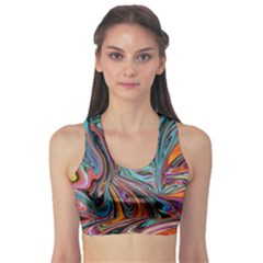 Brilliant Abstract in Blue, Orange, Purple, and Lime-Green  Sports Bra