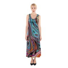 Brilliant Abstract in Blue, Orange, Purple, and Lime-Green  Sleeveless Maxi Dress