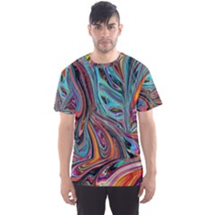 Brilliant Abstract in Blue, Orange, Purple, and Lime-Green  Men s Sport Mesh Tee