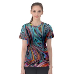 Brilliant Abstract in Blue, Orange, Purple, and Lime-Green  Women s Sport Mesh Tee