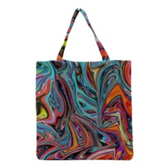 Brilliant Abstract In Blue, Orange, Purple, And Lime Green  Grocery Tote Bag