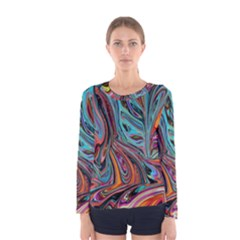Brilliant Abstract In Blue, Orange, Purple, And Lime Green  Women s Long Sleeve Tee