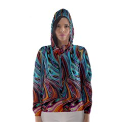 Brilliant Abstract in Blue, Orange, Purple, and Lime-Green  Hooded Wind Breaker (Women)