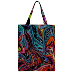 Brilliant Abstract in Blue, Orange, Purple, and Lime-Green  Zipper Classic Tote Bag