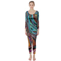 Brilliant Abstract in Blue, Orange, Purple, and Lime-Green  Long Sleeve Catsuit