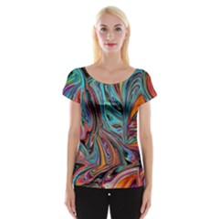 Brilliant Abstract in Blue, Orange, Purple, and Lime-Green  Women s Cap Sleeve Top
