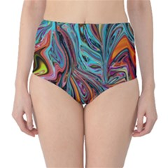 Brilliant Abstract in Blue, Orange, Purple, and Lime-Green  High-Waist Bikini Bottoms