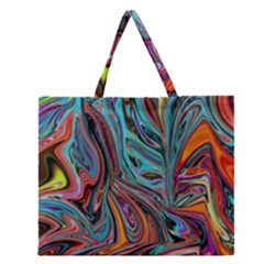 Brilliant Abstract In Blue, Orange, Purple, And Lime Green  Zipper Large Tote Bag