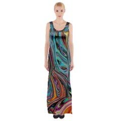 Brilliant Abstract in Blue, Orange, Purple, and Lime-Green  Maxi Thigh Split Dress