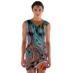 Brilliant Abstract In Blue, Orange, Purple, And Lime Green  Wrap Front Bodycon Dress