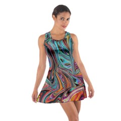 Brilliant Abstract in Blue, Orange, Purple, and Lime-Green  Cotton Racerback Dress