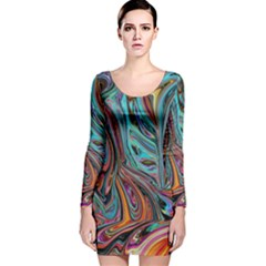 Brilliant Abstract In Blue, Orange, Purple, And Lime Green  Long Sleeve Velvet Bodycon Dress