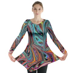 Brilliant Abstract in Blue, Orange, Purple, and Lime-Green  Long Sleeve Tunic