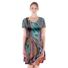 Brilliant Abstract In Blue, Orange, Purple, And Lime Green  Short Sleeve V Neck Flare Dress