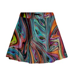 Brilliant Abstract In Blue, Orange, Purple, And Lime Green  Mini Flare Skirt