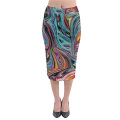 Brilliant Abstract In Blue, Orange, Purple, And Lime Green  Midi Pencil Skirt